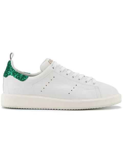 Golden Goose Starter Glitter-Trimmed Leather Sneakers, White
