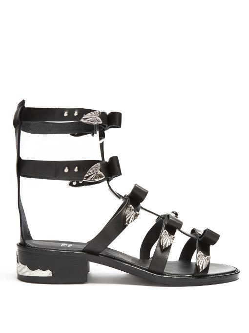Bow-Embellished Leather Gladiator Sandals in Black