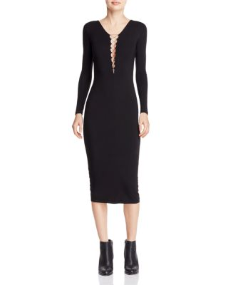 Stretch-Jersey Long-Sleeve Fitted Cocktail Dress With Lacing, Black