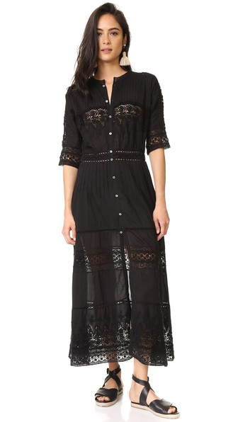 LOVESHACKFANCY Beth Button-Front Cotton Coverup Dress With Crochet Lace in Black