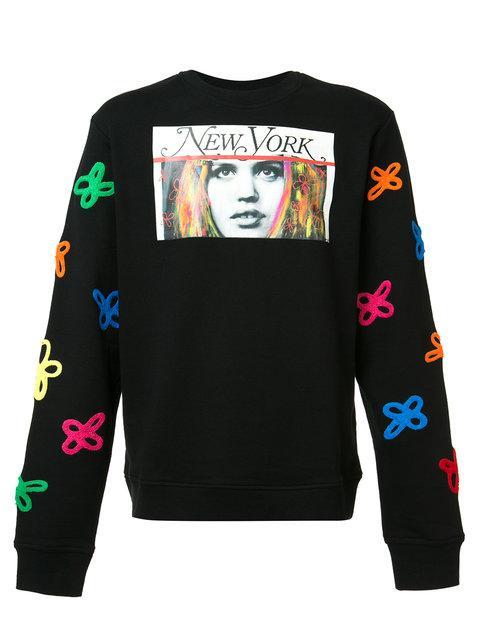 HACULLA 'Tecknikcolor' Vintage Print Floral Appliqué Sweatshirt in Black