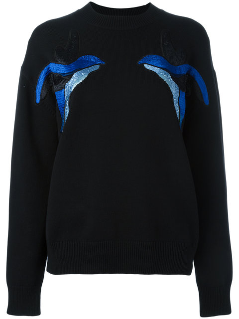 Victoria Victoria Beckham Birds Embroidery Jumper - Black
