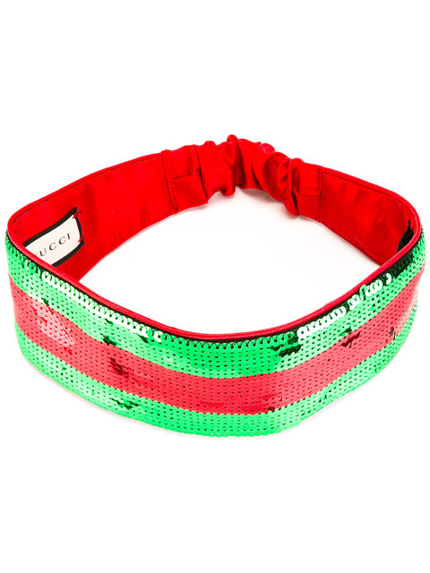 Gucci Striped Sequinned Silk Headband, Green, Red