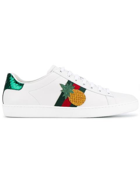 New Ace Pineapple-Embellished Leather Sneakers in White