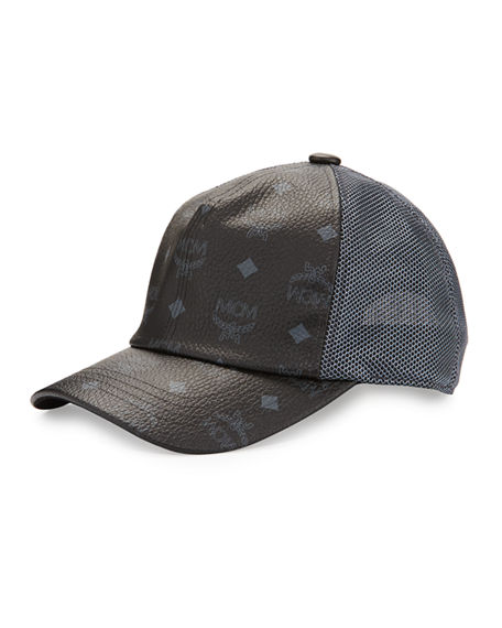 MCM VISETOS CANVAS MESH BASEBALL CAP, BLACK