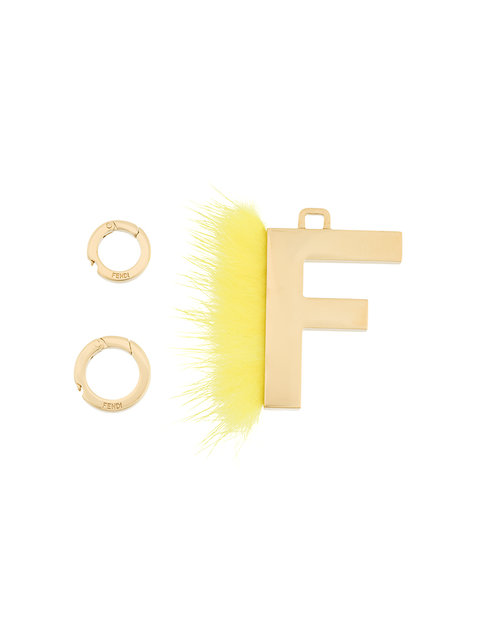 Abclick Letter F Mink Charm For Handbag, Multi in Yellow