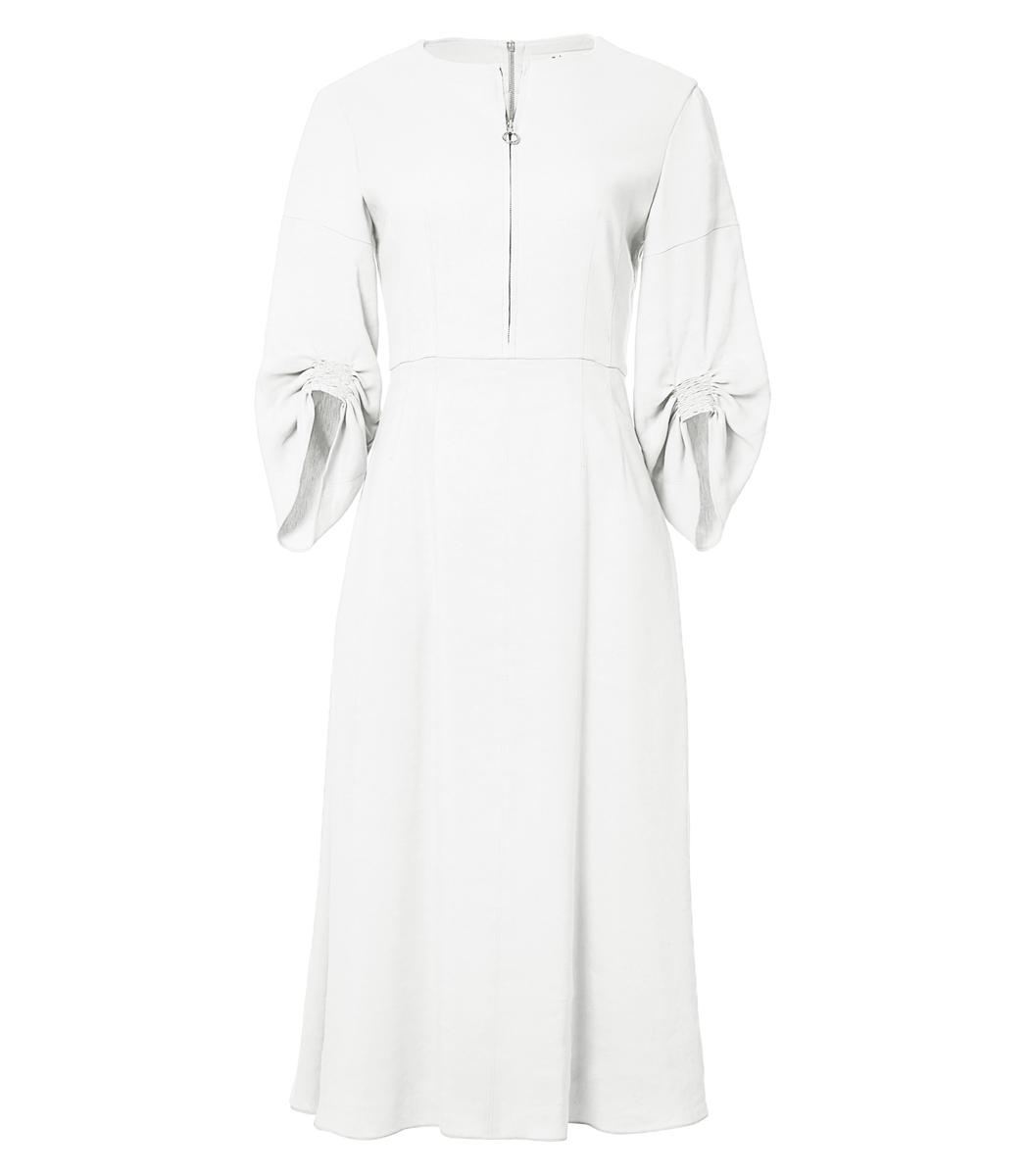 67f0d22216 TIBI Marta Ruched Linen-Blend Midi Dress