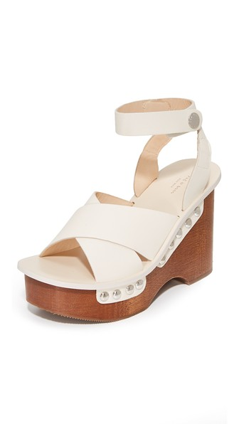 Hester Leather Clog Sandals - Ivorybone Size 11