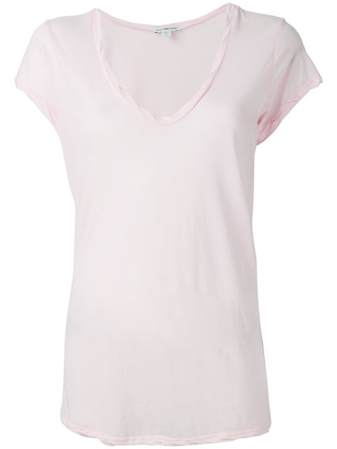 JAMES PERSE V-Neck Cotton T-Shirt in Pink