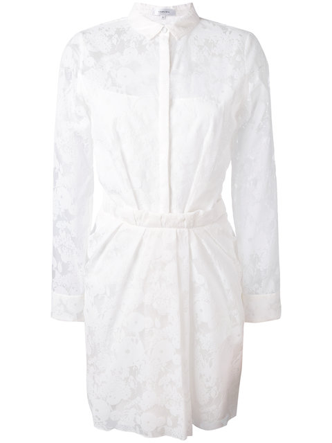 Carven White Poplin Belted Wrap Dress