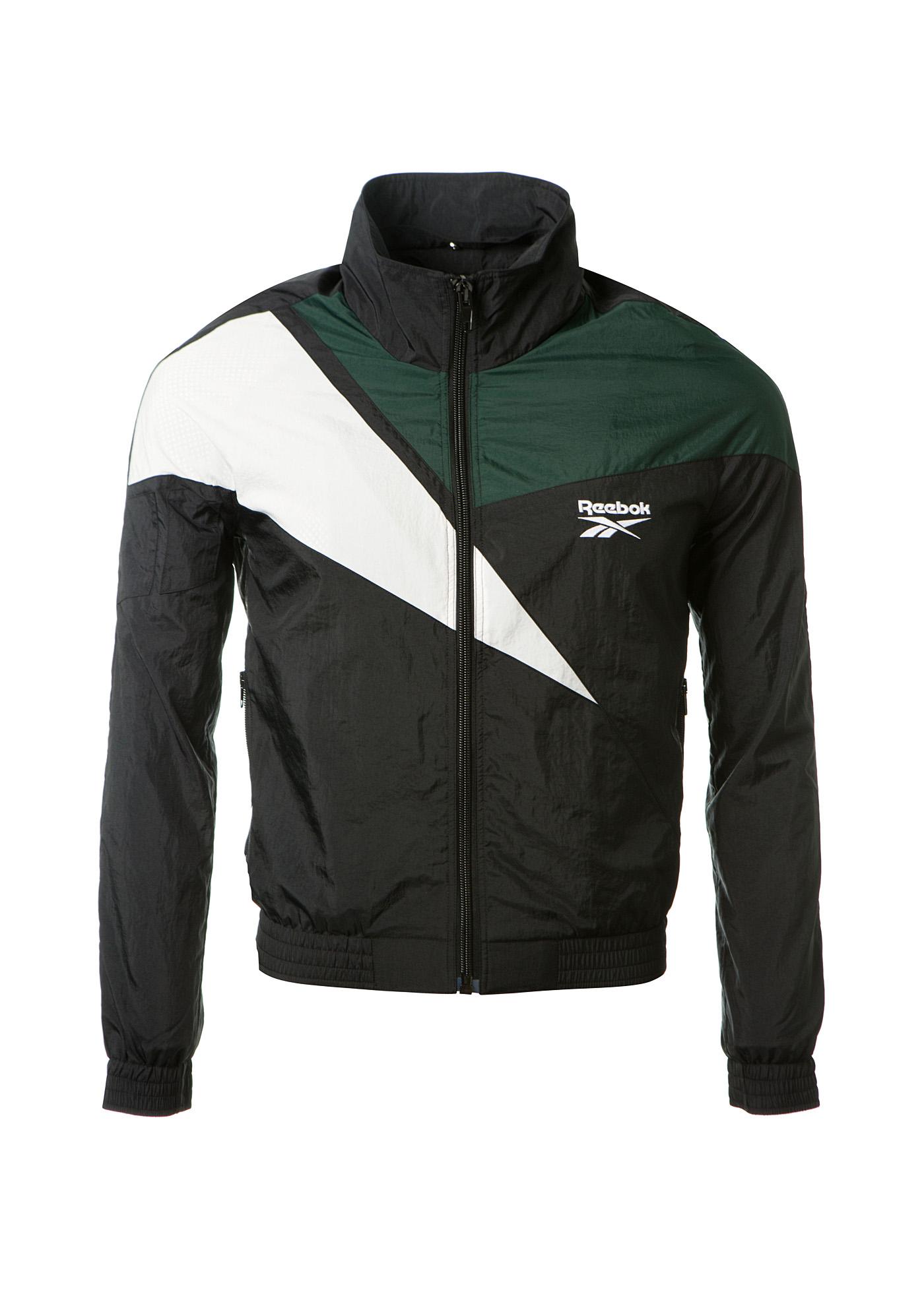 reebok jacket. vetements reebok hooded zip-up nylon track jacket, black jacket 1
