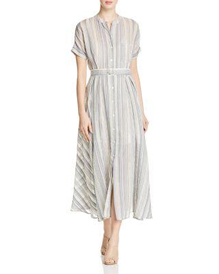 THEORY Avink Striped Crinkled Cotton And Silk-Blend Midi Dress ... 66da03558