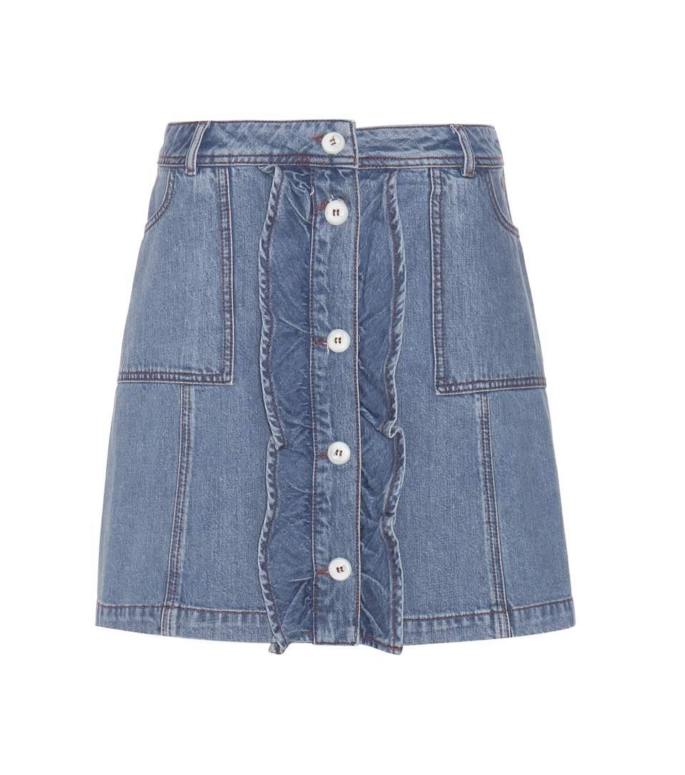 GANNI Benedict Mini Denim Skirt in Deeim