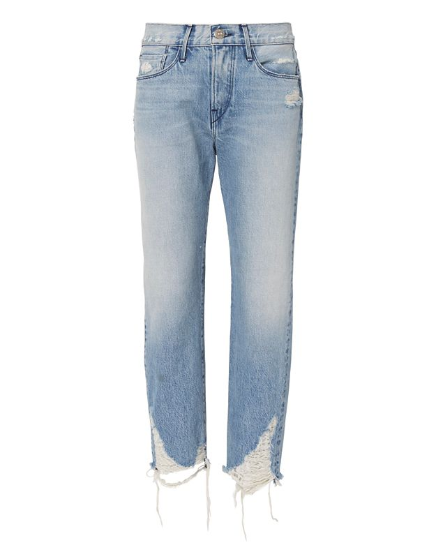 W3 Higher Ground Cropped Distressed High-Rise Jeans, Blue