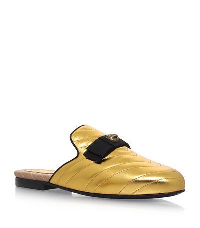 Princetown Metallic Leather Slipper, Gold