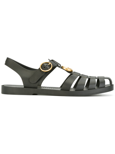 Tiger Head Rubber Buckle Sandals In Black