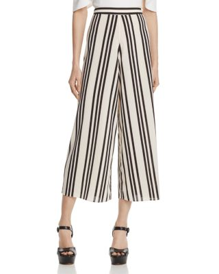 ALICE AND OLIVIA Sherice Striped Georgette Wide-Leg Pants in Variegated Stripe