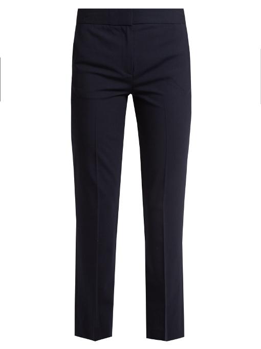 Straight-Leg Stretch-Wool Trousers, Navy
