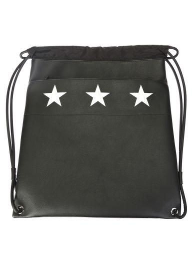 GIVENCHY STARS PRINTEND BLACK LEATHER BAG
