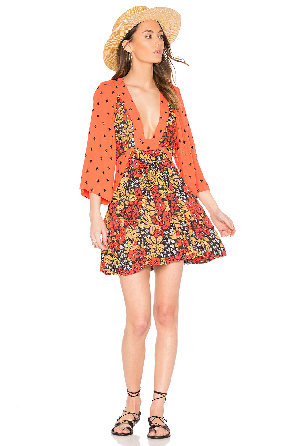 48aa1cf6ecdb FREE PEOPLE TALULLA PRINTED MINI DRESS, ORANGE | ModeSens