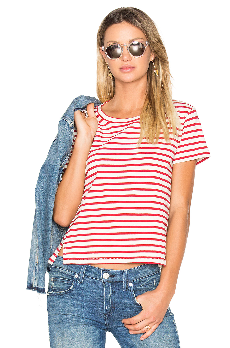 AMO Twist Striped T-Shirt in Red Sailor Stripe