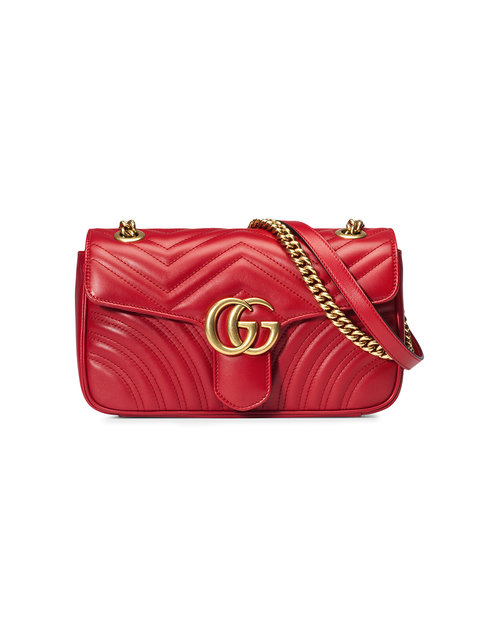 Small Gg Marmont 2.0 Matelasse Leather Shoulder Bag - Red