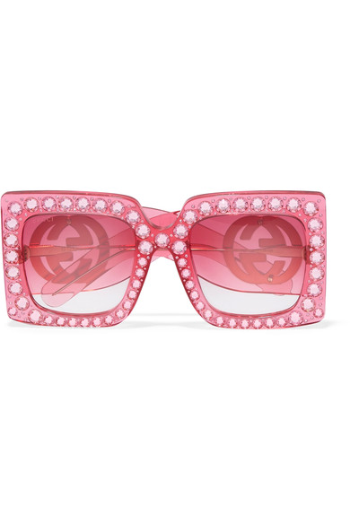 Oversize Square-Frame Acetate Sunglasses With Crystals in Pink Acetate