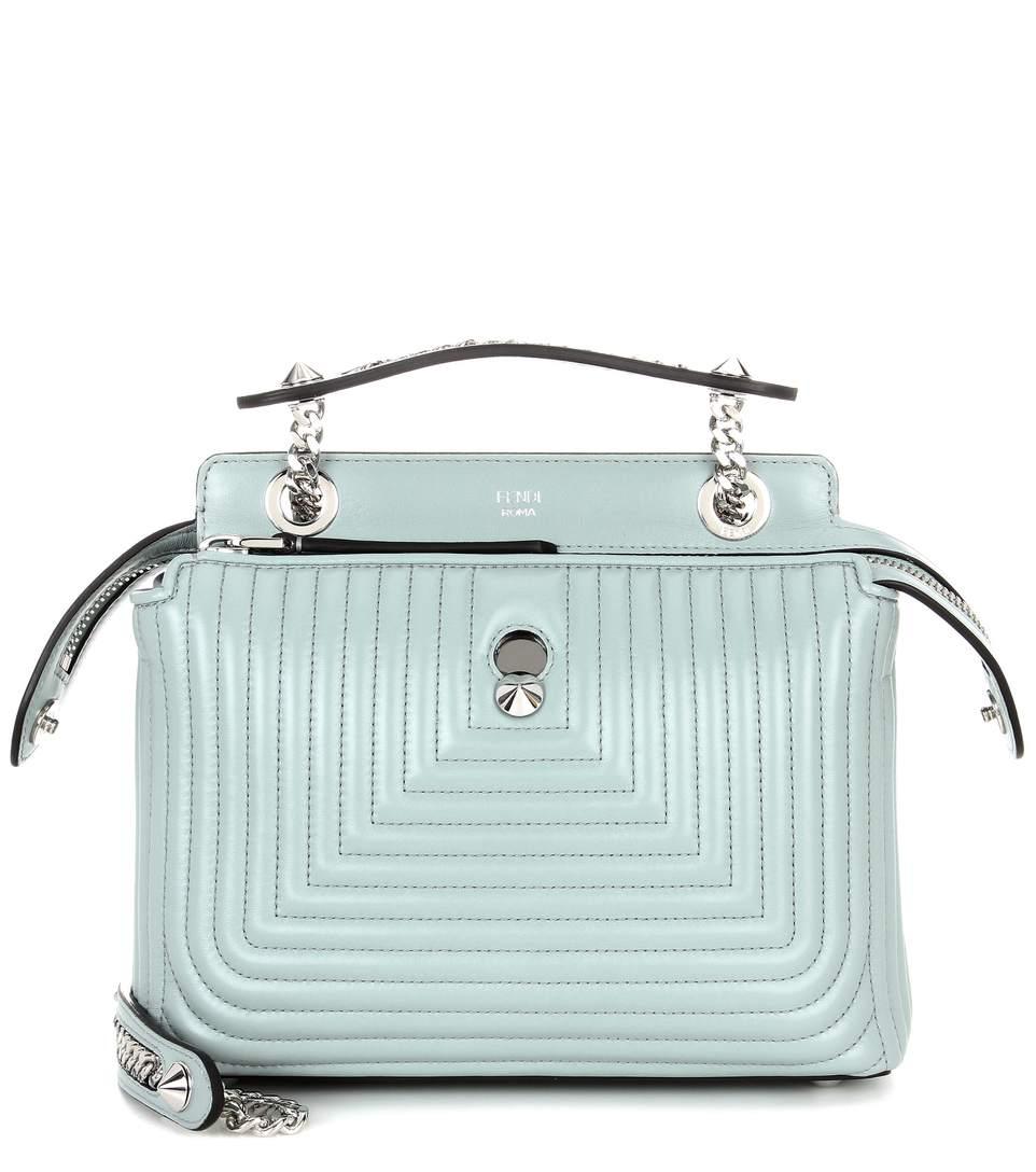 Dotcom Click Leather Shoulder Bag, Light Blue, Pale Blue