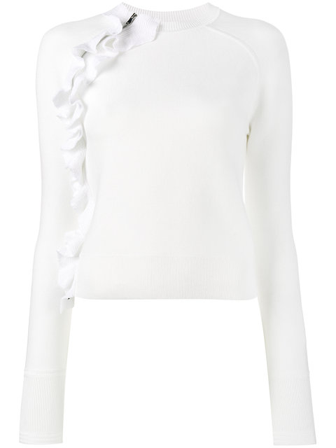 3.1 PHILLIP LIM SOLID RUFFLE LONG-SLEEVE PULLOVER TOP, WHITE