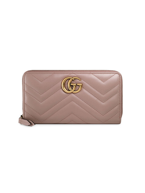 Gg Marmont Matelassé Leather Zip-Around Wallet in Neutrals