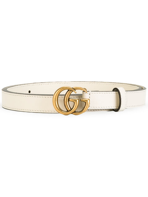 White Leather Belt With Double G Buckle