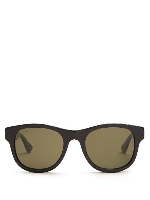 Gucci Square-Frame Acetate Sunglasses, Black Acetate