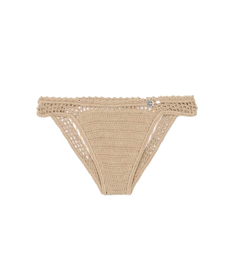 SHE MADE ME Essential Mini Hipster Crochet Bikini Bottoms in Beige