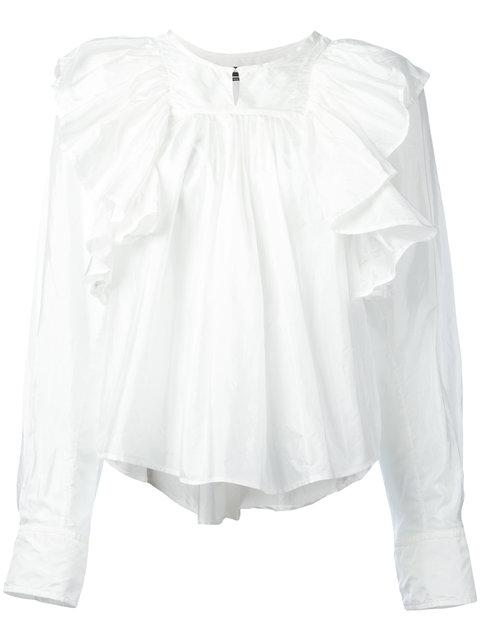 ISABEL MARANT Arlington Modern Silk Ruffle Top in White