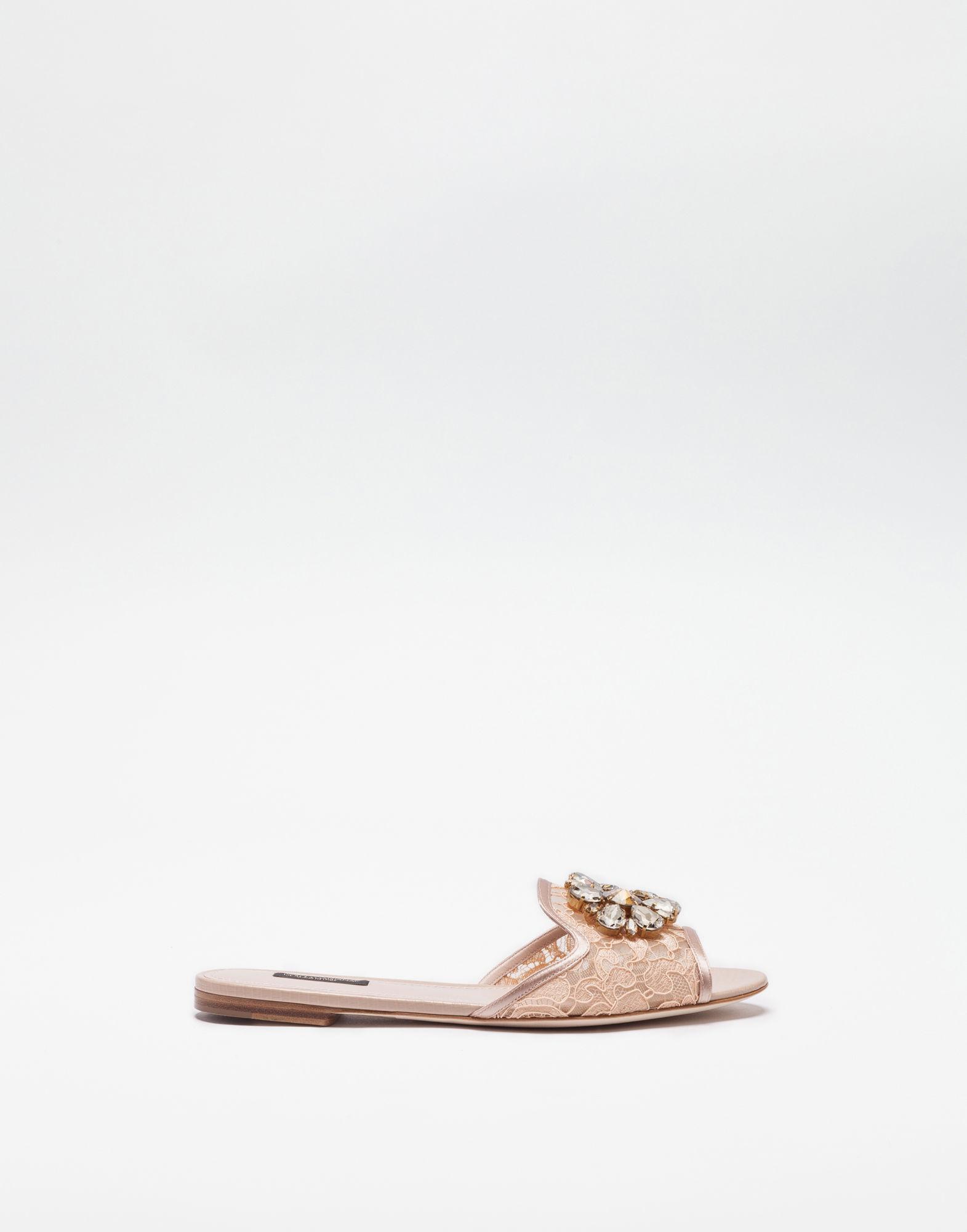 Belluci Crystal-Embellished Lace Slides, Pink