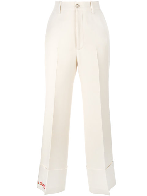 Embroidered-Detail Wide-Leg Wool-Blend Trousers, Nude & Neutrals
