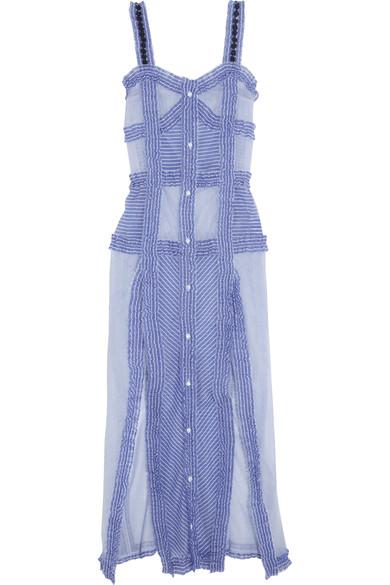 ATTICO Woman Margarita Ruffled Striped Cotton And Silk-Blend Maxi Dress  Light Blue