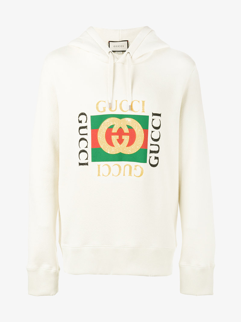 gucci printed loopback cotton jersey hoodie in white. Black Bedroom Furniture Sets. Home Design Ideas