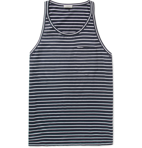 Striped Cotton-Jersey Tank Top in Black