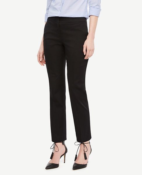 ANN TAYLOR The Tall Ankle Pant In Cotton Sateen - Kate Fit, Black