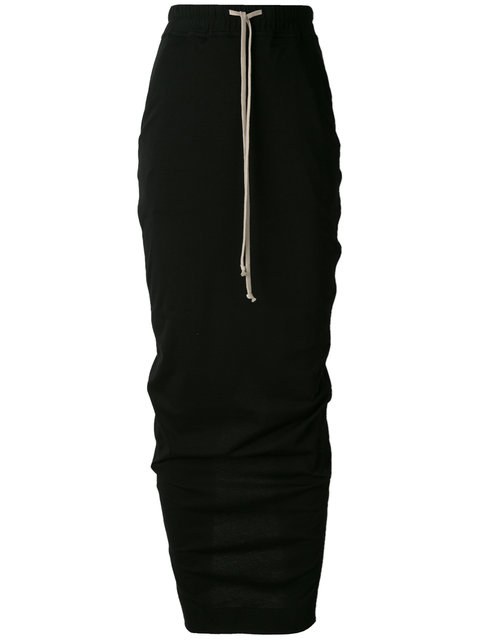 RICK OWENS DRKSHDW BLACK SOFT LONG PILLAR SKIRT