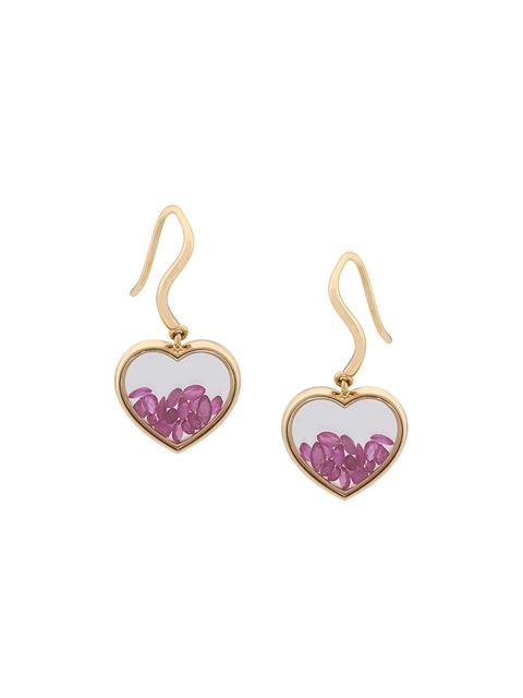 AURELIE BIDERMANN Chivor Heart Ruby & 18K Yellow Gold Earrings in Metallic