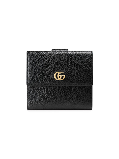 Leather French Flap Wallet in Black