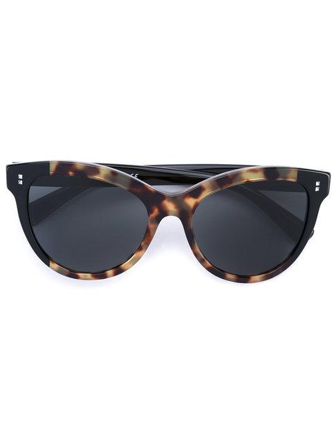 Valentino Rockstud Rivet Monochromatic Cat-Eye Sunglasses, Black
