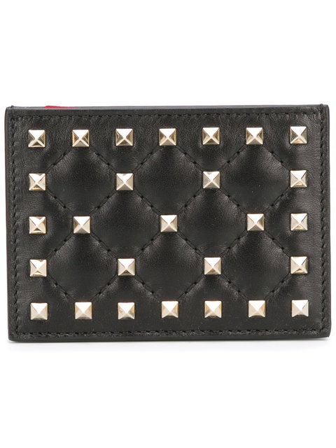 Rockstud Spike Quilted-Leather Cardholder in Black