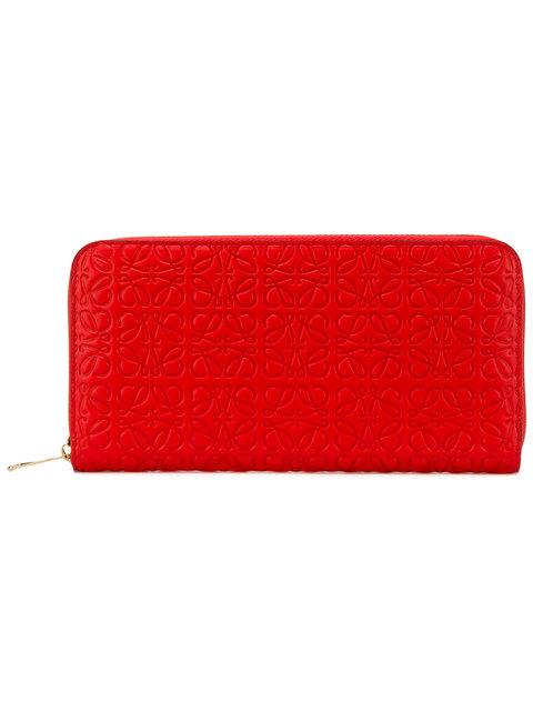 LOEWE EMBOSSED ZIP-AROUND WALLET, RED