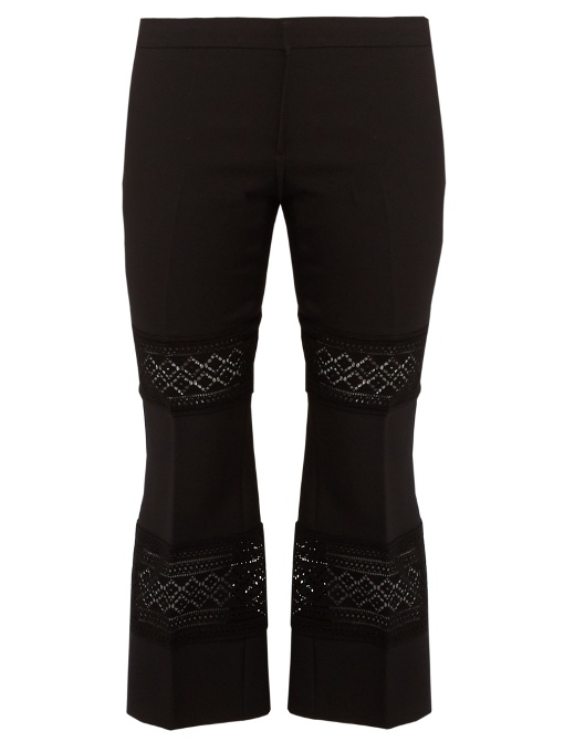 Lace-Insert Wool-Blend Cropped Trousers in Black