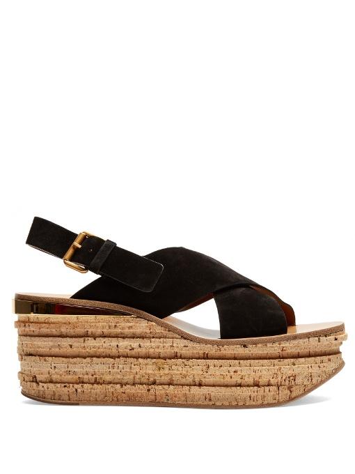 Camille Suede Wedge Sandals, Black