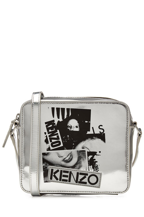 KENZO Metallic Leather Shoulder Bag With Print in Silver