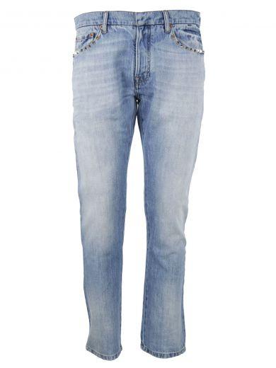 VALENTINO Rockstud Jeans in Blue Denim
